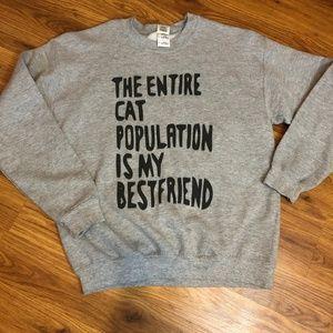 Tops - Grey Cat Sweatshirt - Medium
